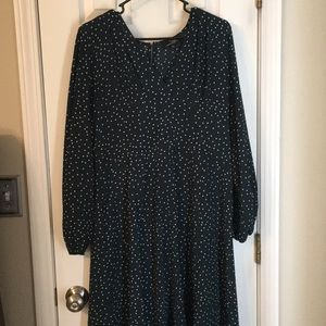 dark green polka dot long dress v neck